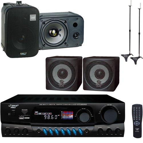 Pyle Stereo Receiver And Speaker Package - Pt560Au 300 Watts Digital Am/Fm/Usb Stereo Receiver Amplifier - Pcb3Bk 3'' 100 Watt Black Mini Cube Bookshelf Speaker In Black (Pair) (Pair) - Pdmn48 5'' Two-Way Bass Reflex Mini-Monitor & Bookshelf/Wall Mount Sp