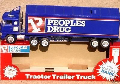 PEOPLES DRUG Tractor Trailer Promo Truck - Mint in Box (With Lockable Bank)