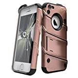 Zizo Bolt Cover for iPhone 5/5S/SE 33mm 9H Tempered Glass Screen Protector Included Military Grade Armor Case, Rose Gold / Black