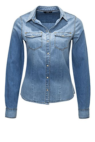 Only Blusa di jeans Donna Camicetta donna Camicia Light Blue Denim XS