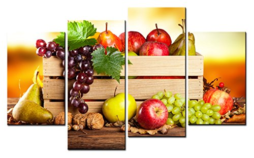 SmartWallArt - Food Paintings Wall Art a Wooden Basket of Fruit and Nut 4 Pieces Picture Print on Canvas for Modern Home Decoration (Fruit Art compare prices)