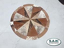 Rug Leather Star Cow Hide Patchwork Area Round Carpet 40\'\'
