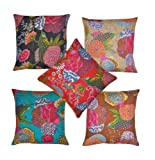 Indian Home Decor Thread Embroidery Work Block Printed Kantha Cushion Cover, 41 X 41 Cm, lot of 5 pcs