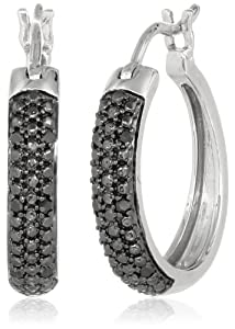 Sterling Silver Black Diamond Hoop Earrings (1/10 cttw)