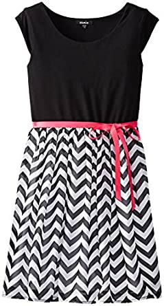 ZUNIE Big Girls' Cap Sleeve Knit To Chiffon Dress,  Black/White, Large