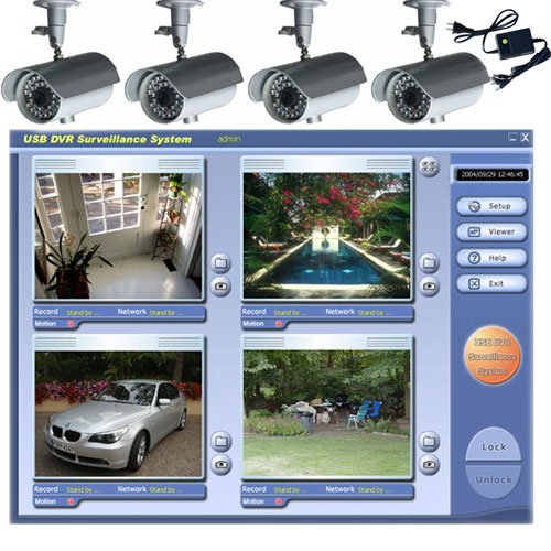 VideoSecu 4 Color Infrared IR Day Night Video Security Cameras USB Internet Remote Control DVR CCTV Home Security System W48