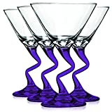 Libbey Purple Z Shaped Stem Martini Glasses with Colored Accent - 9 oz. Set of 4- Additional Vibrant Colors Available by TableTop King