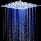 LED 400mm x 400mm Fixed Shower Head Temperature Colour Change