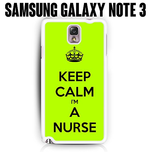 Phone-Case-Keep-Calm-Im-A-Nurse-for-Samsung-Galaxy-Note-3-Rubber-White-Ships-from-CA