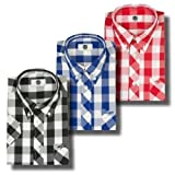 Art Gallery Clothing Giant Gingham Mod Skin Check Short Sleeve Shirt Black Blue Red