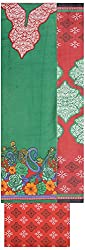 Shrumani Global Women's Cotton Unstitched Dress Material (SG012, Green & Red)