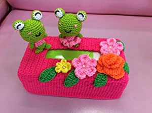 Amazon.com : Couple Green Frog Cartoon Pink Tissue Box Cover, handmade ...