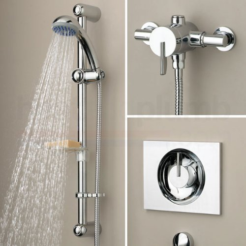 Bristan Sonique Recessed/Surface Mounted Sequential Thermostatic Shower and Adjustable Riser Chrome Plated
