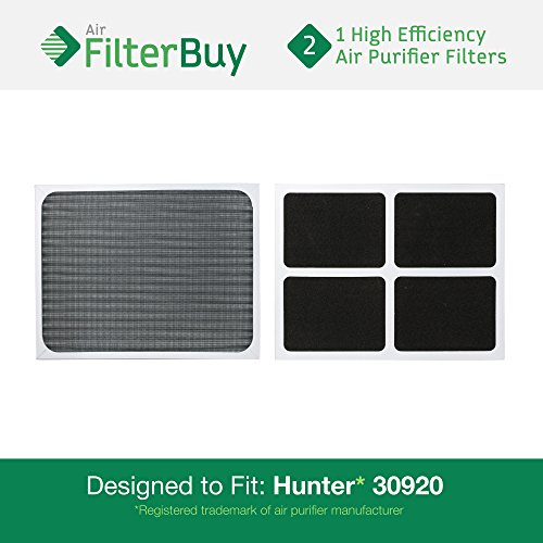 2 - Hunter 30920 30905 Air Purifier Replacement Filters. Designed by FilterBuy to fit Hunter Models 30050, 30055, 30065, 37065, 30075, 30080 & 30177. (30920 Hunter Replacement Filter compare prices)