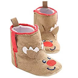 LIVEBOX Baby Christmas Special Premium Soft Sole Anti-Slip Mid Calf Warm Winter Infant Prewalker Toddler Snow Boots (S: 0~6 months, Reindeer Khaki)