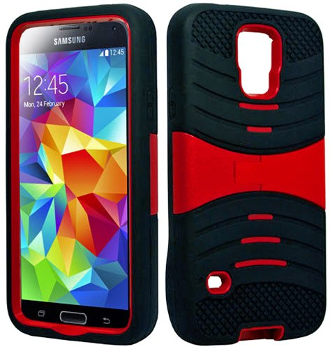 Mylife (Tm) Dark Charcoal Black And Bright Laser Red - Shockproof Survivor Series (Built In Kickstand + Easy Grip Ridges) 2 Piece + 2 Layer Case For New Galaxy S5 (5G) Smartphone By Samsung (Internal Flex Silicone Bumper Gel + Internal 2 Piece Rubberized