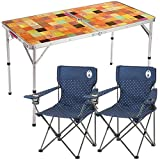 コールマン ナチュラルモザイクリビングテーブル/120プラス 2000026751 + リゾートチェア (ネイビードット) × 2個 計3点セット