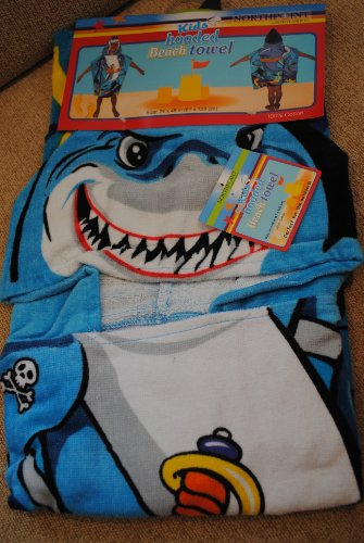 Northpoint Pirate Shark Kids Hooded Beach Towel, 24 X 48 Inch front-681180