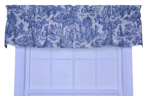 Victoria Park Toile Tailored Valence Window Curtain Blue Ana Martins Oliveirakas