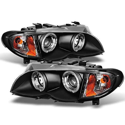 BMW E46 3-Series 4 Doors Sedan Black Halo Ring LED Projector Headlights Left + Right Replacement (Bmw 325i Headlights compare prices)