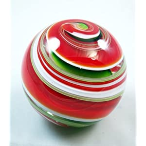 Click to buy Italian Christmas decorations : Murano design red & green stripe Christmas swirl paperweight from Amazon!