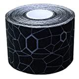 Thera-Band  Kinesiology Tape for Pain Relief and Joint and Muscle Support, Standard roll with XactStretch print to Eliminate Misapplication, 2 Inch x 16.4 Foot Roll, Black/Gray