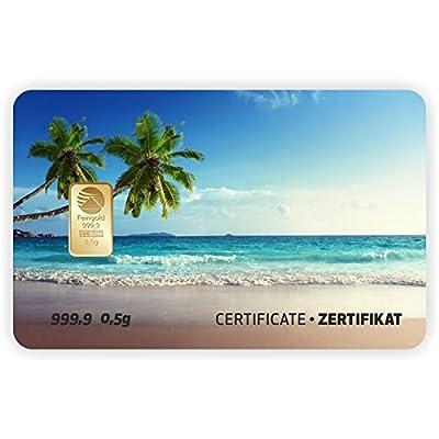 Goldbarren Geschenkkarte 0,5 g 0,5g Gramm Feingold 999.9 Nadir Gold Landschaft Palme