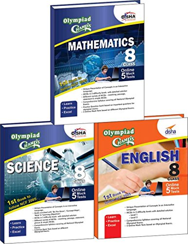 Olympiad Champs Science, Mathematics, English Class 8 with 15 Mock Online Olympiad Tests (Set of 3 Books)