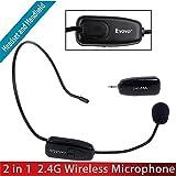 Tomlov Eyoyo 2.4G Wireless Microphone Headset Stage MIC with 3.5mm Plug Receiver Black