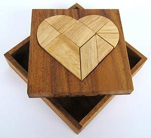 Tangram 'Herz' - Legespiel - Denkspiel - Knobelspiel - Geduldspiel aus Holz