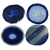 JIC Gem: Set of 4 Blue Dyed Brazilian Agate Coasters Rubber Bumpers 3.5