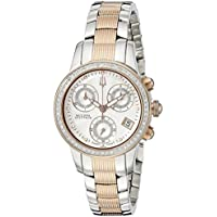 Bulova Women's 65R149 Masella Analog Display Swiss Quartz Two Tone Watch (Silver Dial)