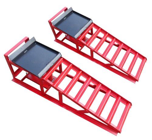 Auffahrrampe Rampe Paar rot, inkl. 2 x Hydraulik-Wagenheber