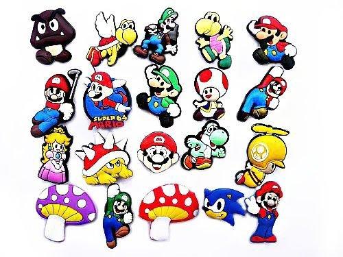 20 pezzi Super Mario Fratelli # 5 Pendaglio di Gomma Decorazione set di Decorazione di Scarpa