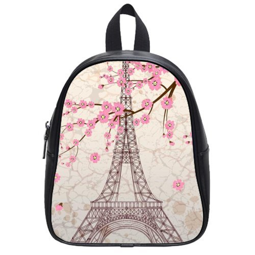 Pretty Specially-Made Paris Eiffel Tower Theme Children Backpacks With Black Or White Color