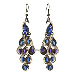 Sorellaz Vintage Blue Body Peacock Earrings