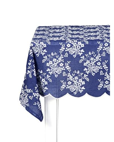 Lene Bjerre Catie Embroidery Blue & White Tablecloth, 55″ x 126″