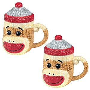 (Set of 2) Sock Monkey Mugs with Lids Ceramic Cable-Knit Texture Coffee Cups