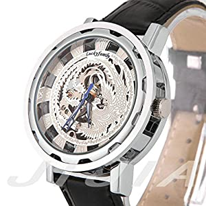 Gift In Box Sliver Phoenix Skeleton Dial Black Genuine Leather Atomatic Mechanical Men's Watch G8119-02
