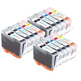 3 Compatible Sets of 5 Canon PGI-5 & CLI-8 Printer Ink Cartridges (15 Inks) - Black / Cyan / Magenta / Yellow for Canon Pixma iP4200 iP4500 iP5100 iP5200 iP5200R iP5300 MP500 MP530 MP600 MP600R MP610 MP800 MP800R MP810 MP830 MX850 MP950 MP960 MP970