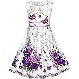 KP11 Girls Dress Purple Butterfly Flower Party Size 4-5