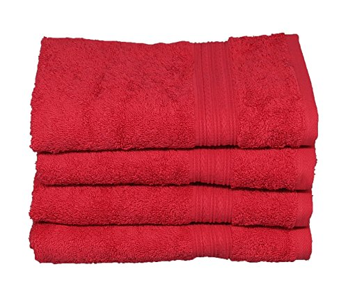 Hand Towels,100% Cotton,16 x 28, Highly Absorbent Multi-Purpose, Soft.(Pack of 4) (Tomato) (Red Hand Towels compare prices)