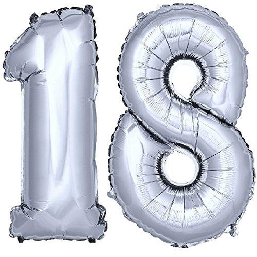 DEKOREX ® Ballon gonflable Ballon feuille de 80cm ballon d'hélium Ballon Anniversaire Décoration numéro argent No 18