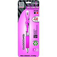 Breast Cancer Awareness Clip-On Ballpoint Retractable Pen, Black/Red Ink, Fine