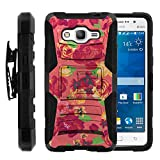 Galaxy Grand Prime Case, Galaxy Grand Prime Holster, Two Layer Hybrid Armor Hard Cover with Built in Kickstand for Samsung Galaxy Grand Prime SM-G530H, SM-G530F (Cricket) from MINITURTLE | Includes Screen Protector - Fruity Rose Pattern