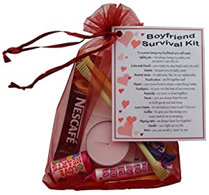 Boyfriend Survival Kit Gift (Great novelty present for Valentines, Birthday, Christmas, Anniversary or just because...)
