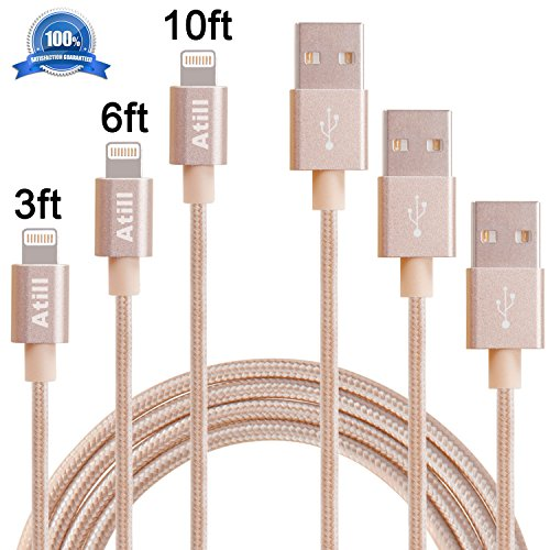 Atill Lightning to USB Cable 3Pack 3FT 6FT 10FT Nylon Braided Sync Charging Cord for iPhone 7/7 plus, 6/6s/6 plus/6s plus, 5c/5s/5/SE, iPad Air/Mini, iPod Nano/Touch (Gold ) (Phone Charger Cord Iphone 6 compare prices)