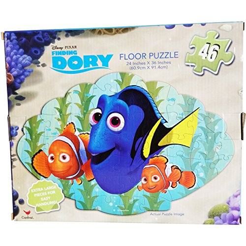 2 Item Bundle: 46 Piece Extra Large Disney License Finding Dory Floor Puzzle Activity 24″ X 36″ and Disney Play Pack Grab & Go