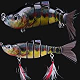 11 Jointed Hard Fishing Lure Swimbait Life-like Artificial Bait & Feather Hook