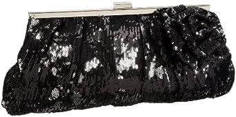 Jessica McClintock Sequins & Satin Floral Clutch,Black,one size